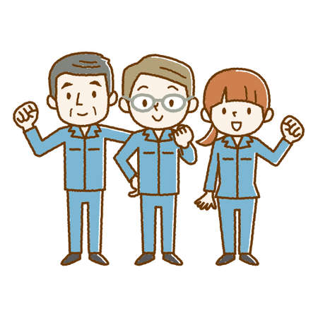 Men and women in work clothes Illustration