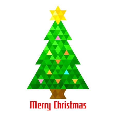 Il triangolo dell'albero di Natale di vettore accende il modello di progettazione della carta del fondo