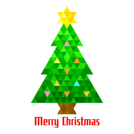 Vector christmas tree triangle lights background card design template