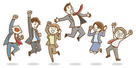 Trabajadores de oficina felices saltando.