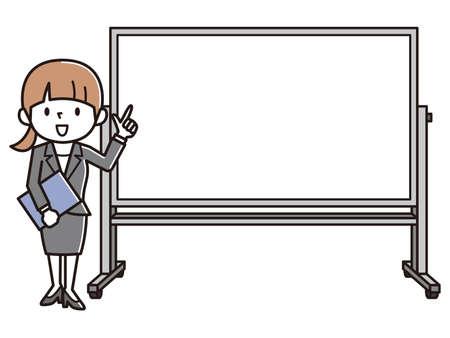 Office Worker Giving a Presentation. Vector Illustratie