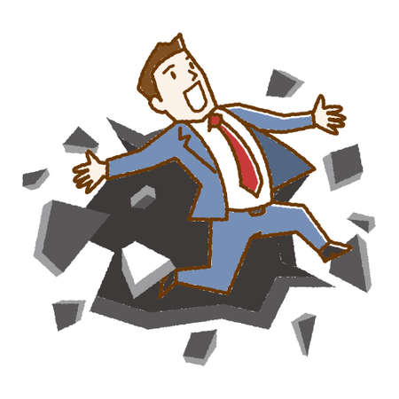Vector Illustration of business man breaking down the wall. Banque d'images - 127215044