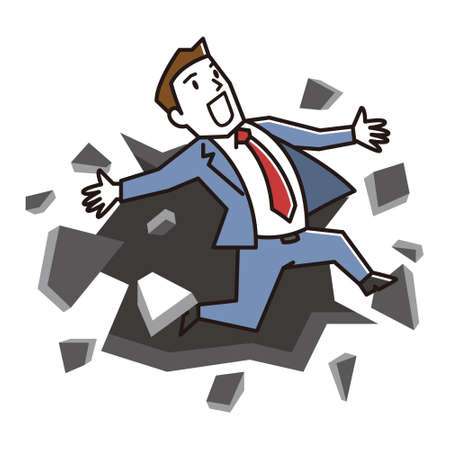 Vector Illustration of business man breaking down the wall. Ilustrace