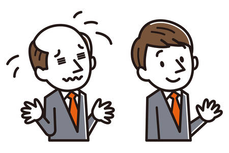 businessman with baldness problem