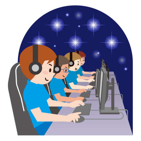 Team of Professional eSport Gamers Playing in Competitive Video Games on a Cyber Games Tournament. Illustration
