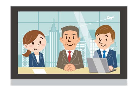 Three men and women reflected on the monitor Illustration