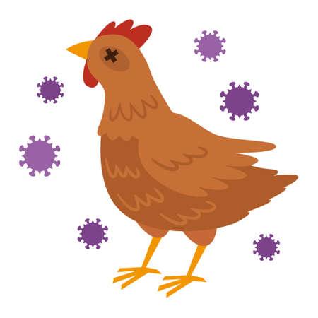 Illustrazione dell'influenza aviaria Vettoriali