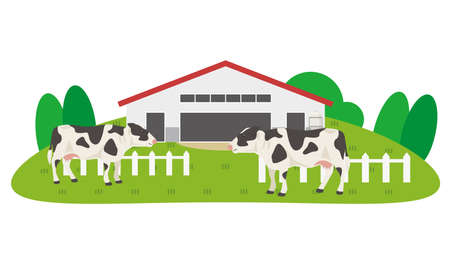 Happy cute cartoon cow on the lawn against the backdrop of a smart farm