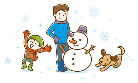 Famille faisant bonhomme de neige en hiver