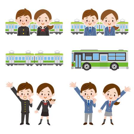 set of illustration of men and women going to school Ilustração