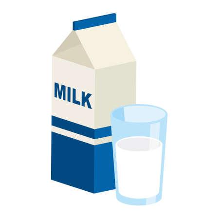 Cartoni del latte e bicchiere di latte