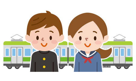 Male and female students and trains