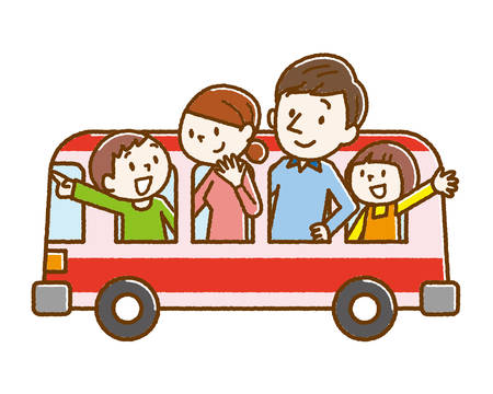 Happy family and tourist bus