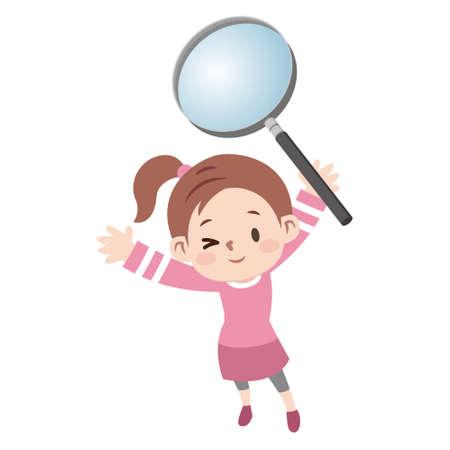 Magnifying glasses and pretty girls Vektorgrafik