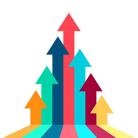 Freccia che sale verso l'illustrazione del concetto di successo nella stessa direzione