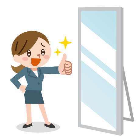happy business woman shows thumb up and mirror Ilustração