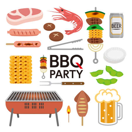BBQ party elements isolated on white background.