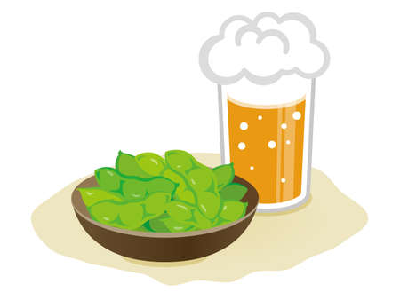 boiled green soybeans and beer