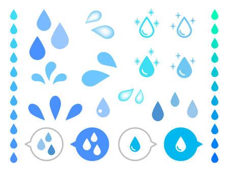 Unterschiedliche Form des realistischen Wassertropfenvektors auf weißem Hintergrund.