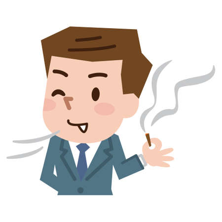 Man is smoking a cigarette. Tobacco dependence. Stock Illustratie