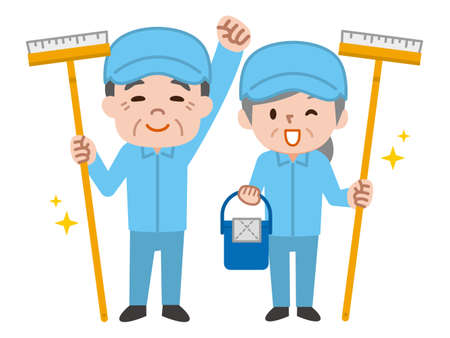 Cleaning workers. Professional cleaning staff. Illustration