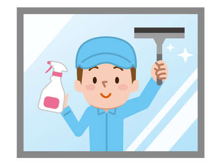 Cleaning workers. Professional cleaning staff.  イラスト・ベクター素材
