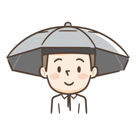 Young man wearing a parasol on his head