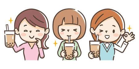 Mujer joven bebe té con leche de perlas