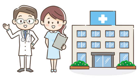 Illustration of a hospital with a male doctor and a nurse 일러스트