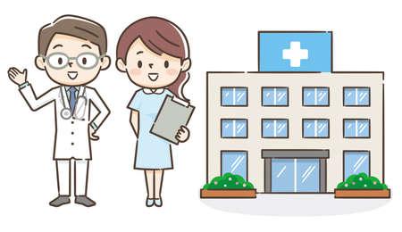 Illustration eines Krankenhauses mit einem männlichen Arzt und einer Krankenschwester Vektorgrafik