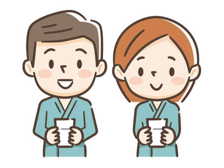 Illustration of young men and women undergoing a barium test