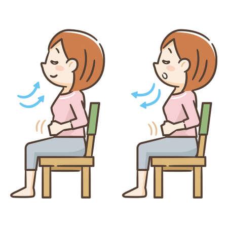 Młoda kobieta siedzi na krześle i bierze głęboki oddech