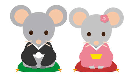 Personified rat family dressed in traditional Japanese kimono, isolated on a white background. Vector illustration.