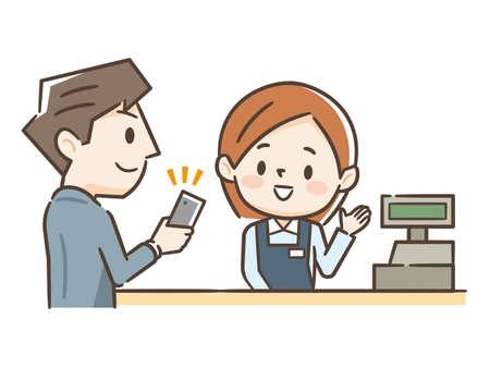 Young man shopping at cash register Illustration