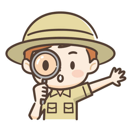 Illustration of a cute boy of adventurer,Peek with loupe