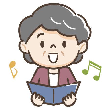 Illustration of a senior lady singing