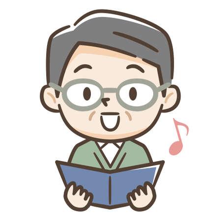Illustration of a senior man singing