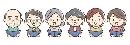 Happy senior adults singing from song books Illustration