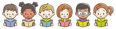Cute children reading books.Vector illustration.