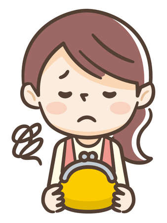 Young housewife with sad expression has yellow wallet
