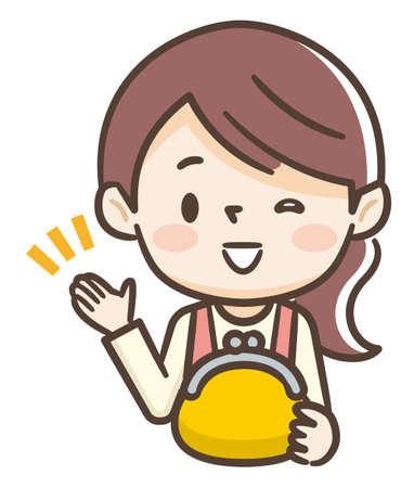 Young housewife has a yellow purse Illusztráció