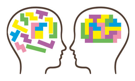 Human brain is made of multi-colored blocks.
