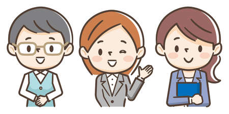 Illustration of three young businesswomen