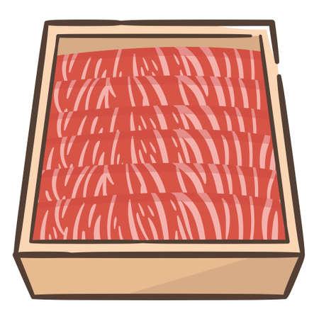 Premium Japanese wagyu beef sliced in box for sukiyaki  イラスト・ベクター素材