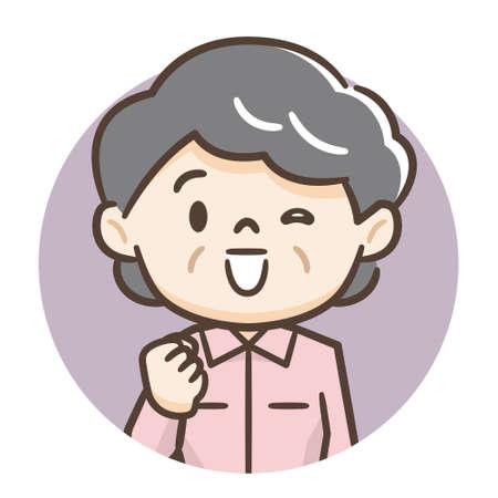 Illustration of a smiling elderly woman Illustration
