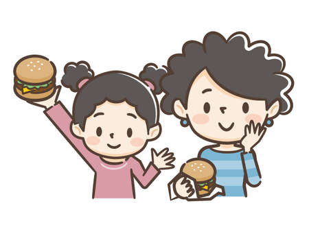 Illustration of parent and child eating burgers Illustration