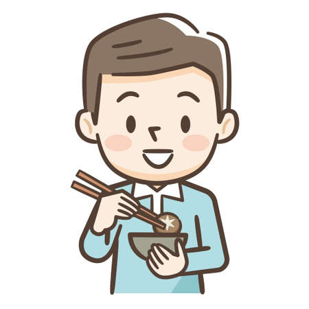 Illustration of a young man eating Illustration