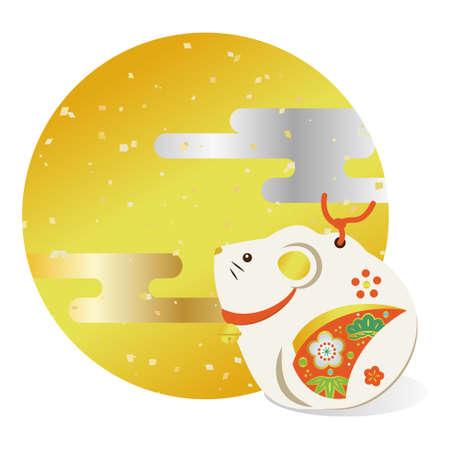 Illustration of an auspicious Japanese mouse Illustration
