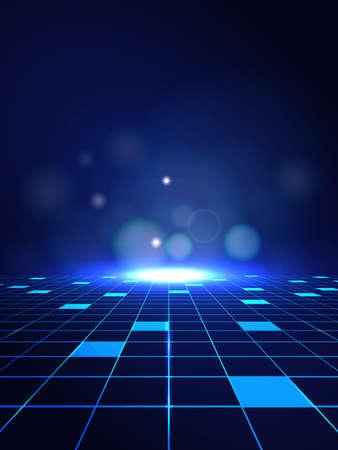 Les lignes de haute technologie abstraites vectorielles se connectent du futur sur fond bleu foncé