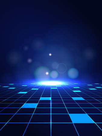 Wektor abstrakcyjne linie wysokiej technologii łączą przyszłość na ciemnoniebieskim tle